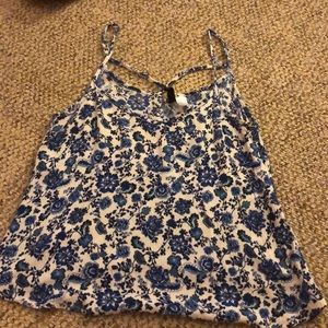 h&m floral cross-back tank